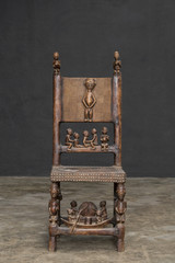 Classic wood chair in black background