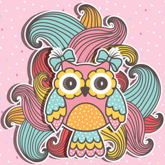 Photo sur Plexiglas Hibou Beautiful, cute owl with swirls on a pink background