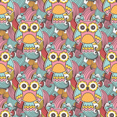Photo sur Plexiglas Hibou Seamless pattern of colorful owls with swirls