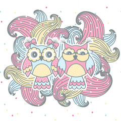 Photo sur Plexiglas Hibou Beautiful, cute couple of owls with curls on a white background