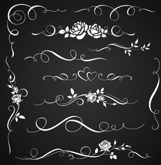 Decorative ornaments with roses. Set of floral calligraphic elements for wedding invitations and page decor