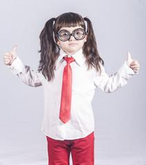Confident little genius girl