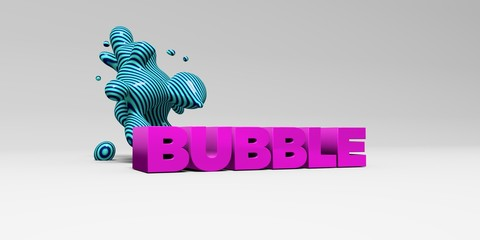 BUBBLE - 3D rendered colorful headline illustration.  Can be used for an online banner ad or a print postcard.