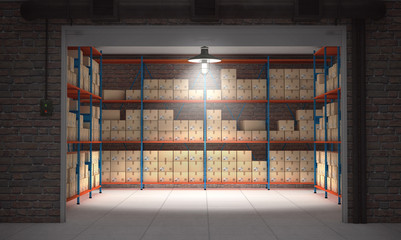 Self storage unit full of cardboard boxes. 3d rendering