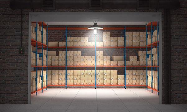 Self storage unit full of cardboard boxes. 3d rendering
