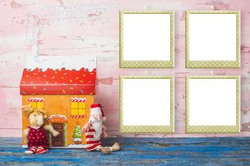 Christmas card, four empty photo frames.