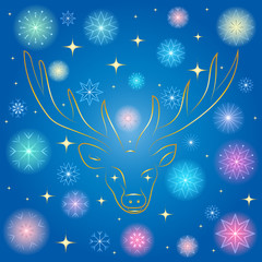 Colorful Shinning Snowflakes and Golden Stars. Hand Drawn Golden Silhouette of Reindeer on Blue Background. Perfect for Festive Design. Vector illustration.