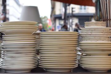 Antique plates in vintage street Market