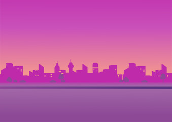 Evening cityscape . vector illustration in a flat design. Landscape in pink tones. City skyline at sunset.