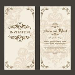 Elegant vintage wedding invitation design