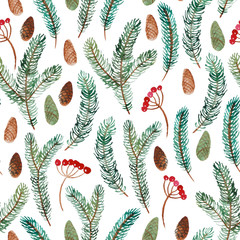 Watercolor seamless pattern of spruce branch, cone and berry