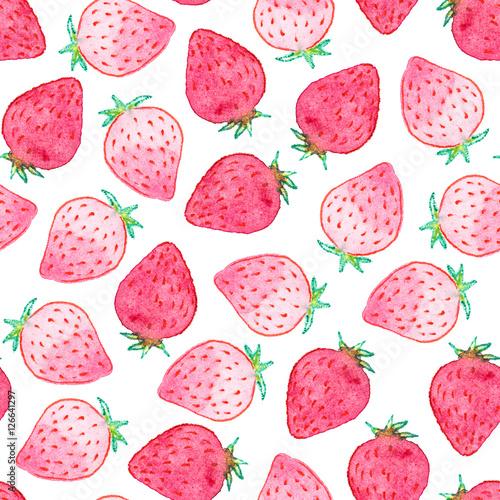 Seamless Watercolor Strawberry Pattern Stock Photo And Royaltyfree Custom Strawberry Pattern