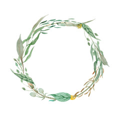 watercolol wreath of grass