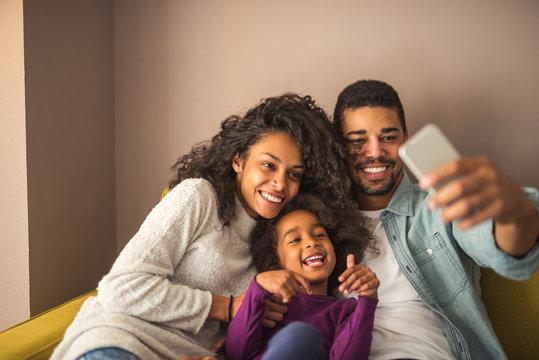Happy family selfie
