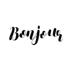Bonjour. Brush lettering illustration.