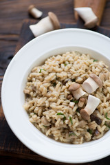Close-up of risotto with cep boletus served in a glass plate