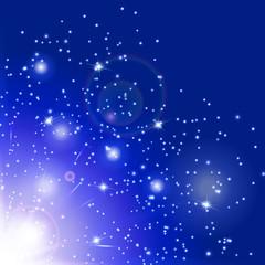 Snowflake background. Flare light. Burst vector. Magic wand. Sun glow. Illustration of a azure backdrop.