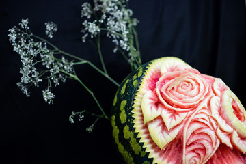 carving, flowers carved into a watermelon