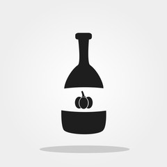 Pumpkin juice, maple syrup cute icon in trendy flat style isolated on color background. Thanksgiving symbol for your design, logo, UI. Vector illustration, EPS10.
