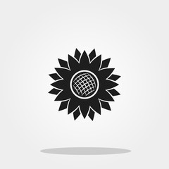Sunflower cute icon in trendy flat style isolated on color background. Thanksgiving symbol for your design, logo, UI. Vector illustration, EPS10.
