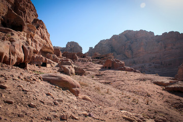 Panorama of historical and archaeological city of Petra, Jordan