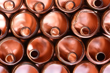 Copper pipe Scrap Closeup