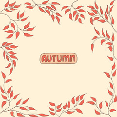 Autumn leaves. Autumnal abstract background/pattern and lettering. Hand drawn Vector Illustration
