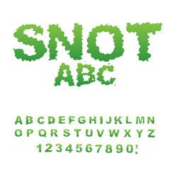 Snot font. Snivel alphabet. Green slime letters. Booger ABC. Sli