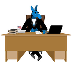 Blue Donkey Democrat sitting in office. Animal boss at table. Sy