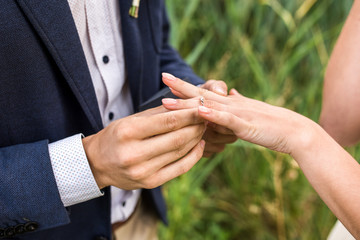 Groom wears the ring on the finger of the bride. Proposal of marriage/ Close up