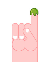 Snot on finger. Pick your nose snivel. Hand and booger. Green sl