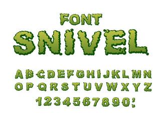 Snivel font. Slippery lettering. Booger alphabet. Green slime le