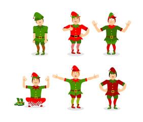Elf Christmas set poses. Various movements assistant of Santa Cl