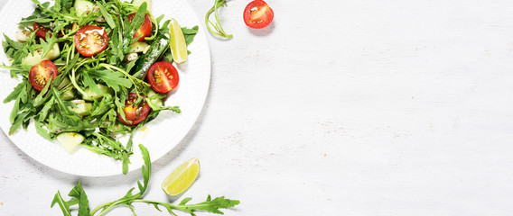 Green vegetarian salad with rocket. Template for diet recipe