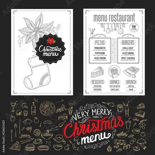 Christmas restaurant brochure, menu template. Vector holiday ...