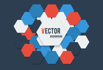 Vector illustration of abstract background with hexagon white red blue and dark colors with the banner.