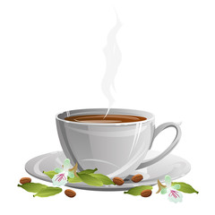 Coffee cup on saucer with coffee beans, cardamom pods and flowers. Vector illustration.