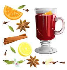 Mulled wine with set of ingredients (cinnamon sticks, star anise, orange, cloves, cardamom, lemon). Vector illustration.