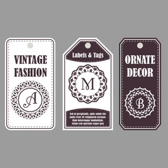 Vector frames design. Vintage set of ornamental tags. Eastern decor with monograms. Template labels for cards.