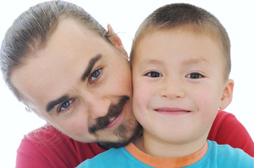 Father and boy together portrait,happy family, isolated on white