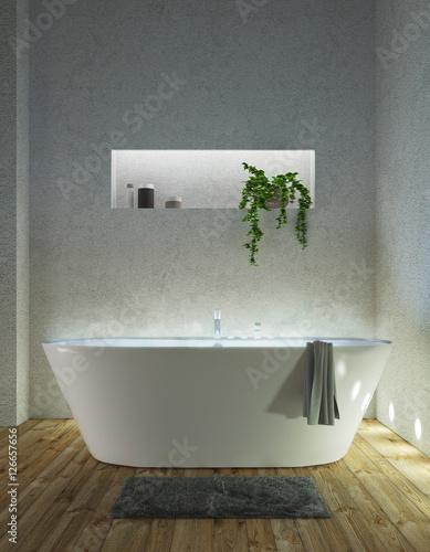 Vasca da bagno moderna su parquet con tappeto render 3d immagini e fotografie royalty free su - Vasca da bagno moderna ...