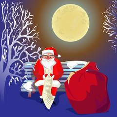 Санта-Клаус с подарками. Рождество. Новый год. Праздник.