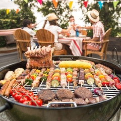 Family having a barbecue party in their garden