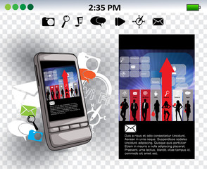 Touchscreen device with cloud of colorful application. Vector illustration.