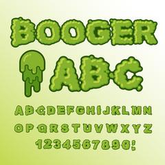 Booger ABC. Green slime letters. Snot font. Snivel alphabet. Sli