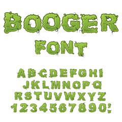 Booger font. Slippery lettering. Snivel alphabet. Green slime le