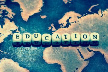 EDUCATION on grunge world map