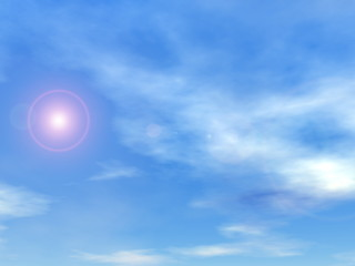 Sun in the sky background - 3D render