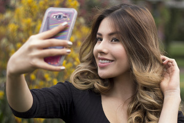 Close up of woman making a selfie