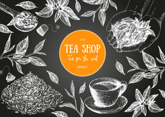 Vector illustration for Tea Shop. Vector card design with tea. Poster for tea house. Vector hand drawn set. Linear graphic banner.